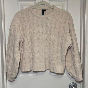 NWT Moon&Madison cream knit velvet cropped sweater